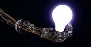 robot holding lightbulb